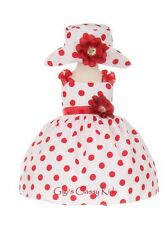 New Baby Girls White & Red Polka Dot Dress S-XL Wedding Pageant Easter 1002C