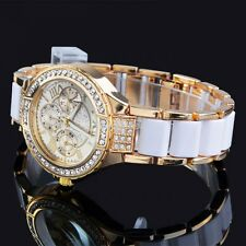 New Fashion Silver Gold Crystal Lady Women Bracelet Analog Quartz Wrist Watch