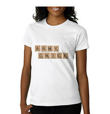 New Army Chick T-Shirt - 100% Cotton Ladies Fitted T-Shirt All Sizes Military