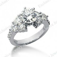 3.25CT Certified Ladies Round Cut Diamond Engagement Ring in 14kt White Gold