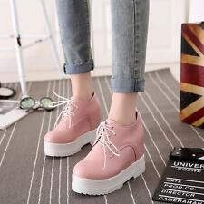 School girl Womens platform wedge high heels lace up round toe shoes US4.5-10.5
