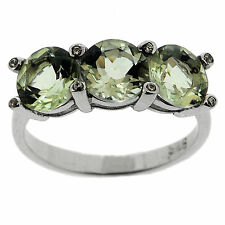 925 Sterling Silver 3.90 Ct Natural Green Amethyst & CZ Ring