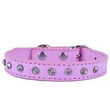 Pink Leather Dog Collar Crystal Studded Collar For Small Pets Dog Necklace Teddy