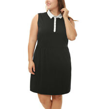 Women Plus Size Sleeveless Contrast-Collared A Line Dress
