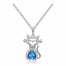 Glitzy Rocks Sterling Silver Created Opal and Cubic Zirconia Cat Necklace
