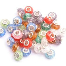Wholesale Mixed Silver Buckle Faceted Acrylic Crack Bead For European Bracelet