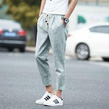 Mens summer linen blend loose casual shorts cropped pants breath harem trousers