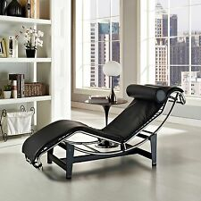 Le Corbusier Style LC4 White Genuine Leather Chaise Lounge