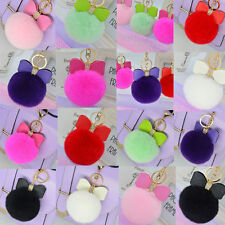 Leather Bow + Fluffy Rabbit Fur Pom Pom Ball Keychain Handbag Pendant Key Chain