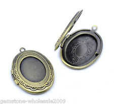 Wholesale Lots Bronze Tone Photo Oval Locket Frame Pendants 34x24mm