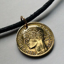 France 50 centimes coin pendant French necklace Marianne lady liberty n000532