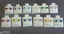 .925 sterling silver 6mm heart shaped cz stud pair earrings birthstone colors