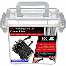 100 Connectable Twinkling Christmas LED String Lights Red Blue White