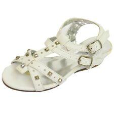 KIDS GIRLS CHILDRENS WHITE T-BAR WEDGE GLADIATOR SANDALS SHOES 10-5 (SECONDS)