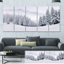 Foggy Winter Mountain and Trees - Landscape Photo Canvas Print