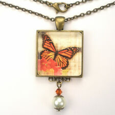 """MONARCH BUTTERFLY """"VINTAGE CHARM"""" BRONZE OR SILVER ART GLASS PENDANT NECKLACE"""