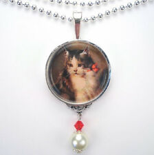 CAT KITTEN RED BOW 'VINTAGE CHARM' SILVER OR BRONZE ART GLASS PENDANT NECKLACE