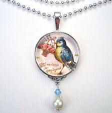BLUE BIRD W/ FLOWER BASKET 'VINTAGE CHARM' SILVER OR BRONZE ART PENDANT NECKLACE