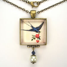 """BLUEBIRD OF HAPPINESS """"VINTAGE CHARM"""" BRONZE OR SILVER BIRD PENDANT NECKLACE"""