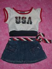 """Build A Bear Girl Clothes Lot -""""USA"""" Sequin Top & Belted Rhinestone Jean Skirt"""