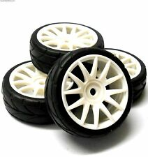 82829 1/16 Scale RC Nitro Car Wheels and Tyres Complete x 4 HSP White Plastic