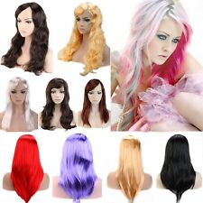 Women Long Straight CurlY Full Wigs Cosplay Wig White Blonde Pink Party Hair GII