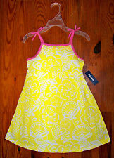 New! Girls OLD NAVY Bright Yellow White Pink Cotton Flower Sundress Casual Dress