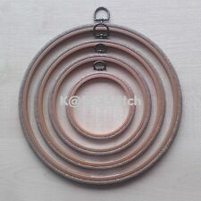 ROUND WOODGRAIN EFFECT FLEXI HOOP 2.5 - 10in PICK SIZE CROSS STITCH / EMBROIDERY