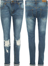 New Womens Skinny Leg Stretch Hipster Ripped Distressed Denim Ladies Jeans