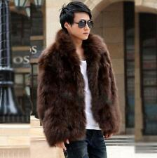 Mens Winter Warm slim fit fur collar faux fur coat hooded jacket outwear parka