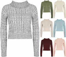 New Womens High Polo Neck Chunky Knitted Long Sleece Crop Pullover Ladies Top