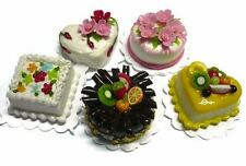 5 Fruit Cakes and Flower Cakes Dollhouse Miniatures Food Bakery -1