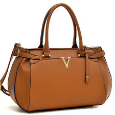 New V Shape Women Handbag Faux Leather Satchel Shoulder Bag Tote Bag Purse