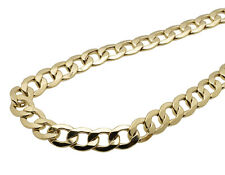 Men's Real 10K Yellow Gold Hollow Curb Cuban Link Chain Necklace 10MM 24-36 INCH