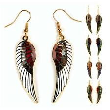 ANGEL WING EARRINGS Gold Plated Cloisonne Enamel Dangle White Red Blue Green NEW