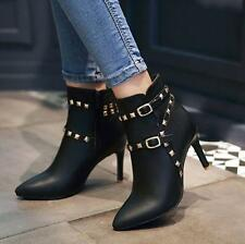 New Womens sexy  pointy toe zip up ankle boots rivet buckle stiletto heels shoes