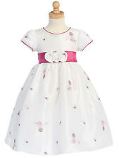 Gorgeous Boutique Pink White Embroidered Flower Girl Party Dress Lito USA
