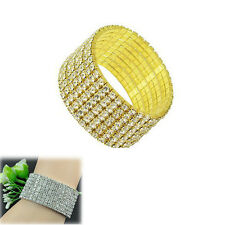 8 Rows Women's Charm Bangle Crystal Rhinestone Elastic Wedding Bridal Bracelet