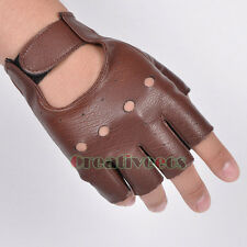 Men's Leather Driving Motorcycle Bike Sing Rock Dance Punk Dj Fingerless Gloves