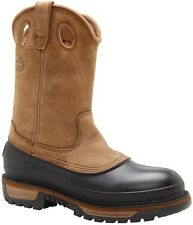 Georgia Men's Muddog Wellington Pull On Western Leather Work Boots Brown G4434