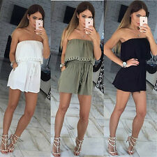 Sexy Lacing Women Sleeveless Short Playsuits Strapless Rompers Party Bandage G