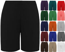 New Womens Plus Size Plain Elasticated Knee Ladies Stretch Cycling Shorts
