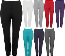 New Plus Womens 3/4 Length Cropped Ladies Plain Stretch Leggings Pants