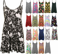 New Plus Size Womens Strappy Sleeveless Printed Ladies Mini Dress Vest Top