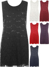 Plus Womens Flapper Sequin Lace Lined Sleeveless Knee Length Top Ladies Dress