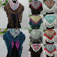 Paisley Petal Splicing Vintage Wool Knit Mohair Knit Edge Knit Triangle Scarf