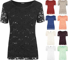 New Plus Size Womens Lace Sequin Lined Ladies Sleeve Party Crochet Top