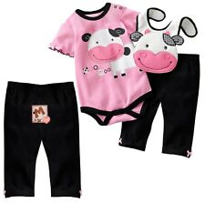New Baby Boys Girls Clothing Set 3 Pcs/Set Romper + Bibs + Pants Animal Print