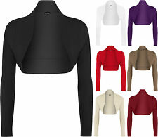New Womens Plus Long Sleeve Open Bolero Shrug Cardigan Ladies Short Top
