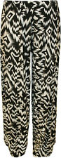 New Womens Plus Size Black Print Wide Leg Ladies Palazzo Pants Trousers